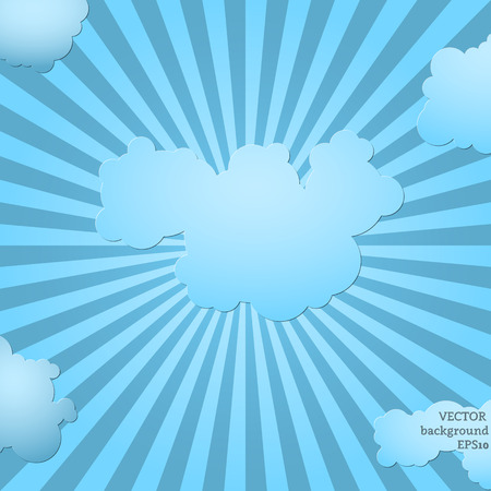 Blue sky shine with clouds and place for text. Vector illustration. Ilustrace