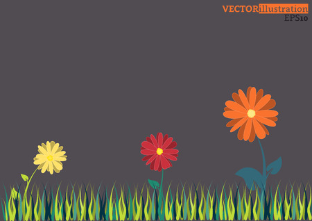 flower banner: Colored flowers with green grass on the meadow on the dark background. Vector illustration. Illustration
