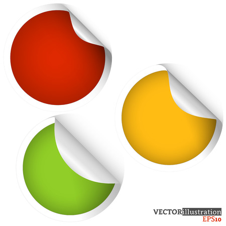 Collection of colored curled sticky cirles - red, orange, yellow. Vector iilustration.