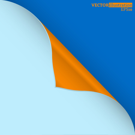 A thick blue curled corner on the blue background shadowed. Vector illustration. Ilustrace