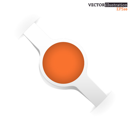 Small white and orange shadowed label like a watch with place for text. Vector illustration. Illusztráció