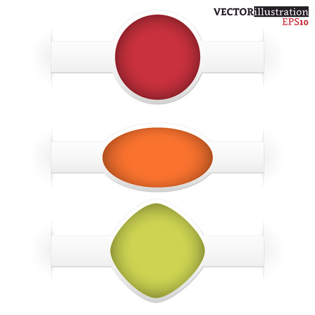 Set of small red, orange and green shadowed labels like a watch with place for text. Vector illustration. Ilustrace