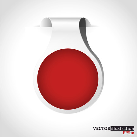 Small white and red shadowed label like a watch with place for text. Vector illustration.