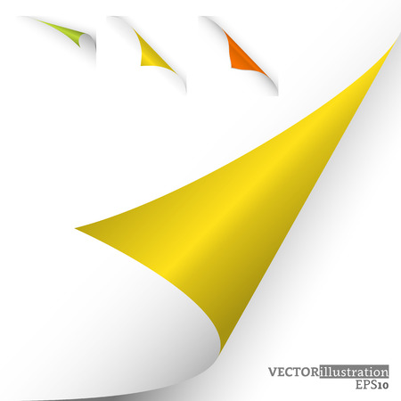 Collection of different colored curled corners on the white background shadowed. Vector illustration.