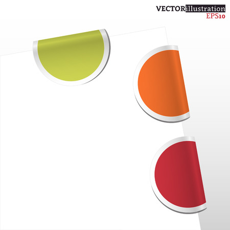 Collection of colored curled label bookmarks - red, orange, green. Vector illustration.