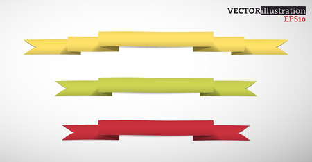 Collection of yellow, green and red band, colored strips. Vector illustration. Ilustrace