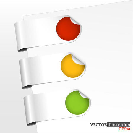 Set of green, yellow and red bookmarks with curled corner. Vector illustration.