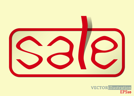 Red colored sale card, colored text spring sale on the light yellow background. Vector illustration. Ilustrace