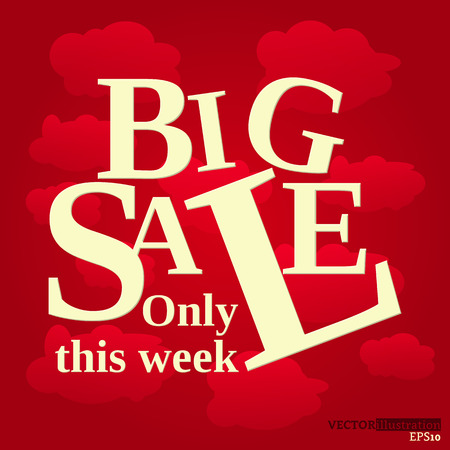 Yellow red colored poster with text big sale only this week on the clouds background. Vector illustration.