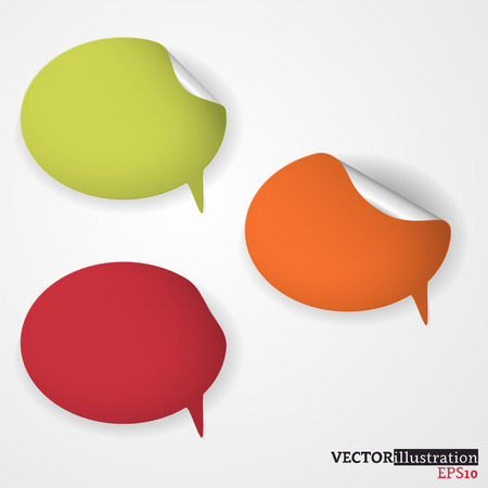 Green, orange and red colored speech bubble on the light background. Vector illustration.