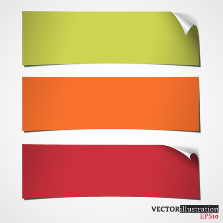 curled corner: Three colored banners with curled corner. Vector illustration.
