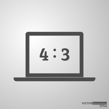 Grey notebook silhouette 4:3. Vector illustration.