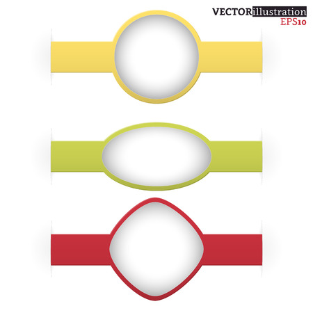Set of small red, yellow and green shadowed labels like a watch with place for text. Vector illustration.