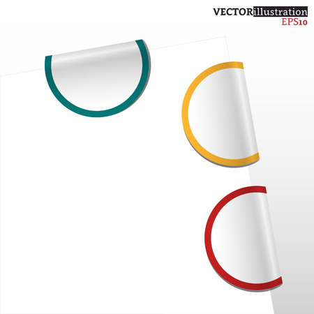 Collection of colored curled label bookmarks - red, yellow and blue. Vector illustration.