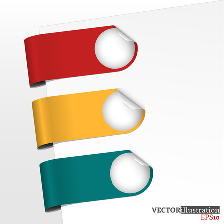 page corner curl: Set of red, yellow and blue bookmarks with curled corner. Vector illustration.