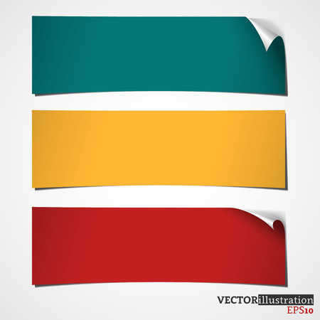 possibility: Three colored banners with curled corner. Vector illustration.