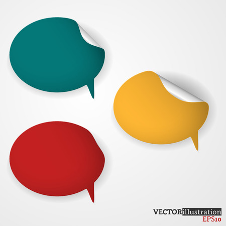 Blue, yellow and red colored speech bubble on the light background with curled corners. Vector illustration. Ilustrace
