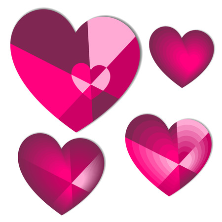 Collection of pink and purple colored heart with shadow on the background. Vector illustration.