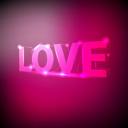 3D shinning neon text love on the pink background. Vector illustration. Illusztráció