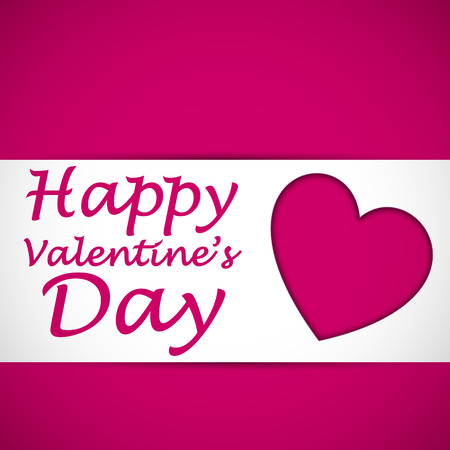 Happy valentines heart card with text on the pink background. Vector illustration. Ilustrace