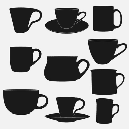 Collection of cup silhouettes. Vector illustration.