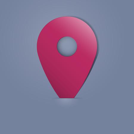 coordinates: Plastic purple pin tag on the dark background. Vector illustration. Illustration