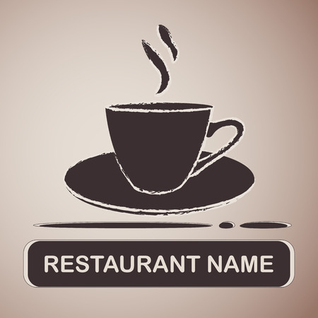 Brown silhouette of the coffee cup on the light brown background with a text designed for cafe. Vector illustration. Illusztráció