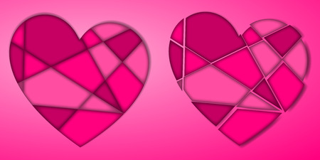 Collection of pink and purple colored broken heart with shadow on the background. Vector illustration.