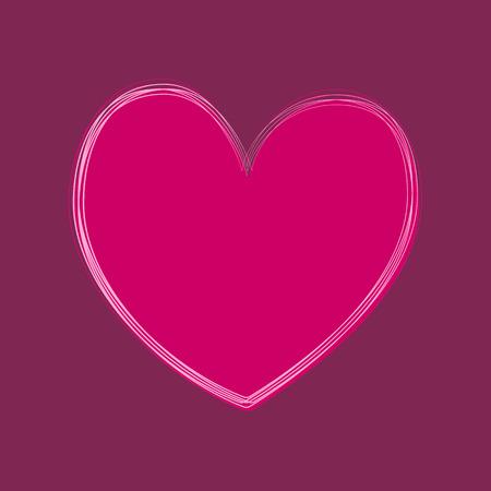 Big pink heart on the violet background. Vector illustration.