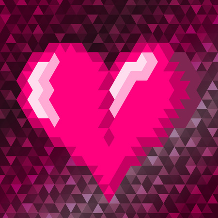 Pink triangle heart on the pink colored background. Vector illustration. Ilustrace