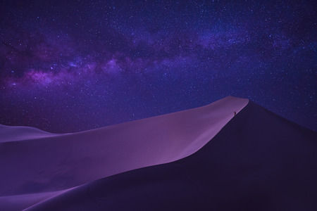 man looking milky way in desert