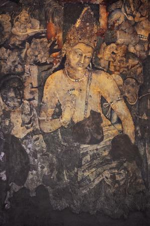 菩薩 Padmapani 絵画、アジャンター石窟内部の洞窟、インド