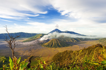 temple mount: Mount bromo  batok semeru volcano, java indonesia