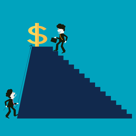 rewarded: The businessman is successful while the competitor is not successful Illustration
