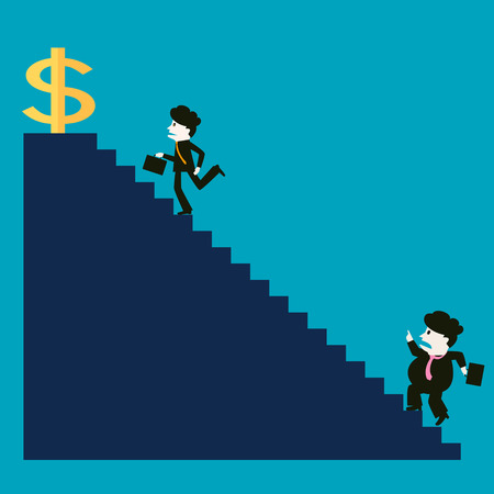 struggle: The businessman is successful while the competitor is not successful Illustration