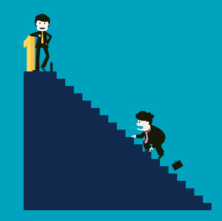 competitor: The businessman is successful while the competitor is not successful Illustration