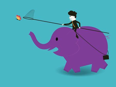 no correr: Empresario montar un elefante para atrapar una mariposa