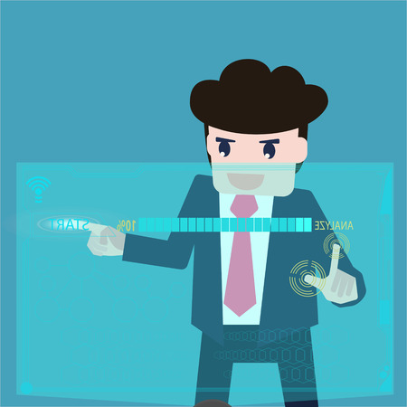 analyzed: Business men are data analyzed at a computer screen. Illustration