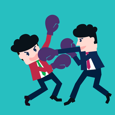 inferior: Two businessmen fighting in a boxing with boxing gloves Illustration