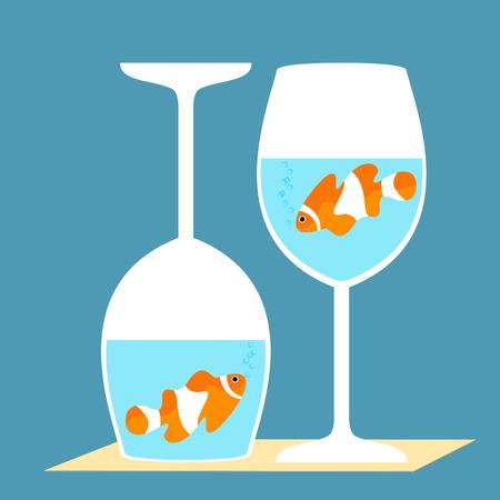 risky love: pesci pagliaccio in bicchieri di vino Vettoriali
