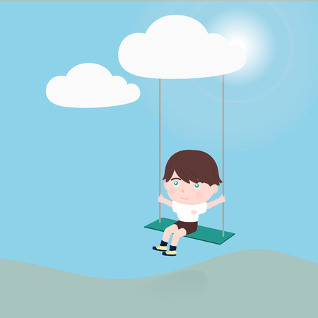 hopeful: little boy on a swing hanging from cloud