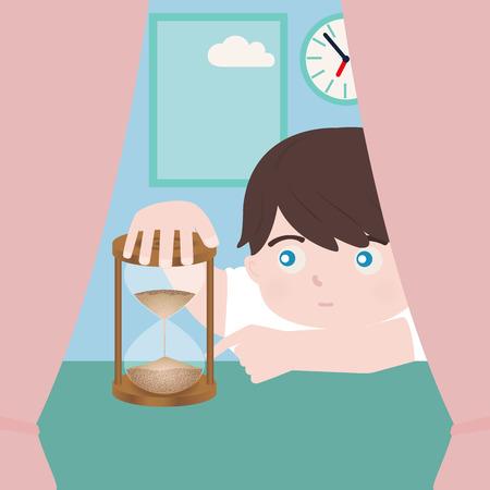 persona triste: ni�o peque�o con reloj de arena