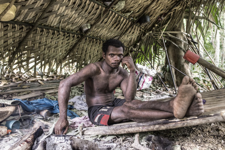 impenetrable: PATTALUNG THAILAND  MAR 28  2015 : The Negrito of Thailand. They are a saagai tribe who live peacefully in the dense and impenetrable forest.  In the south of Thailand.