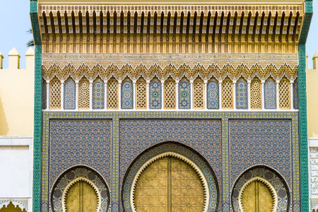 The golden Gate of the palace in fez Morocco