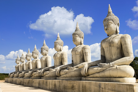 Row of buddha statue under construction in south thai