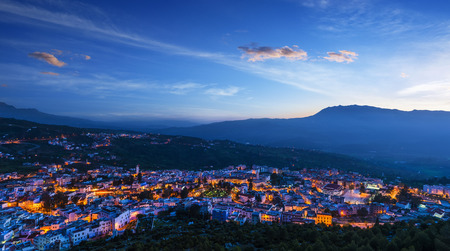 Panorama of Chefchaouen with buildings painted in blue color Morocco Reklamní fotografie