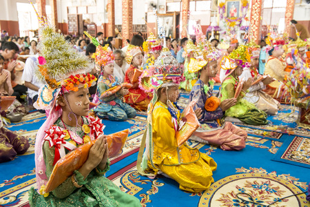 MAE HONG SON THAILAND  APRIL 5 2015: Unidentified novice in Poy Sang Long festival ordination traditional annual ceremony of Wat Muay Tor on April 5 2015 in Mae hong son Northern of Thailand.