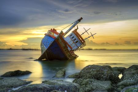 Shipwreck at sunset
