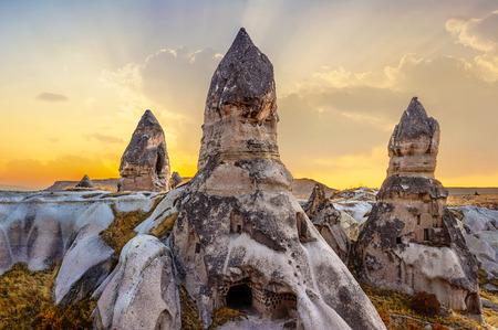 phallic: phallic rock in cappadocia turkey. Stock Photo