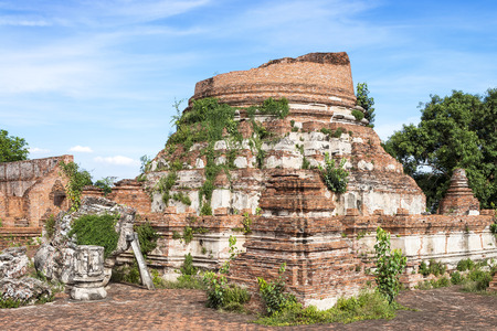 Ruins of the old brick pagoda in Thailand.